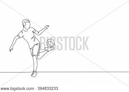 One Continuous Line Drawing Of Young Man Soccer Freestyler Practice To Hold Ball With Soles Of The F