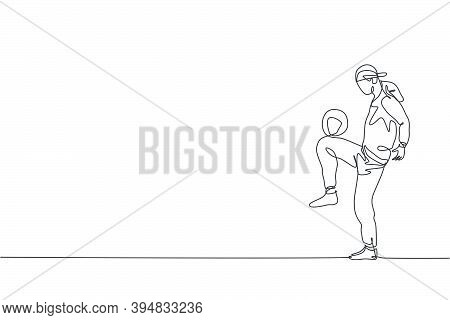 Single Continuous Line Drawing Of Young Sportive Man Wearing Bandan Train Soccer Freestyle, Juggling