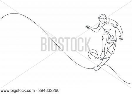 Single Continuous Line Drawing Of Young Sportive Man Train Soccer Freestyle, Jump Juggling With Heel