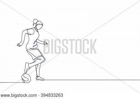 Single Continuous Line Drawing Of Young Sportive Woman Train Soccer Freestyle, Dribbling Trick On Th