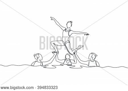One Single Line Drawing Of Young Beauty Women Swimmer Performing Synchronized Routine Of Elaborate M