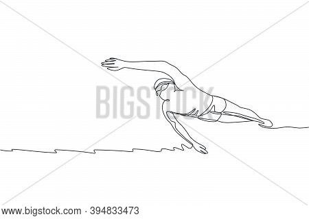 One Continuous Line Drawing Of Young Muscular Professional Swimmer Man Swimming In Sport Center. Hea