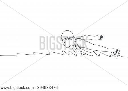 One Continuous Line Drawing Of Young Muscular Professional Swimmer Focus Swimming In Sport Center. H
