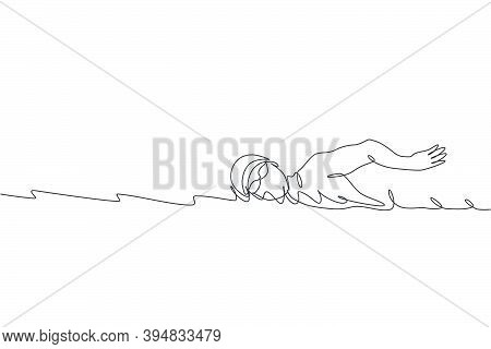 Single Continuous Line Drawing Of Young Happy Professional Swimmer Man Focus Training In Gym Swimmin