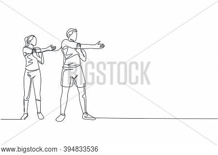 Single Continuous Line Drawing Of Young Sportive Man And Woman Training Warm Up Together In Sport Gy