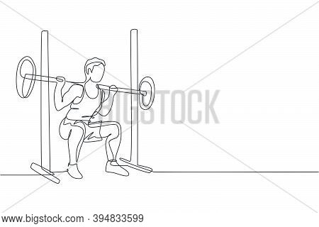 Single Continuous Line Drawing Of Young Sportive Man Train Lifting Barbell In Sport Gymnasium Club C