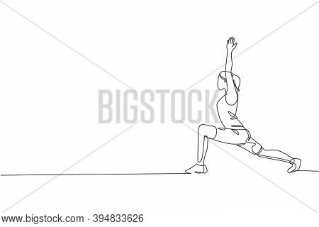 Single Continuous Line Drawing Of Young Sportive Woman Training Low Lunge Pose In Sport Gymnasium Cl