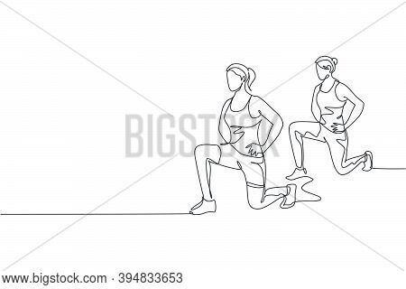 Single Continuous Line Drawing Two Of Young Sportive Women Training And Stretching Together In Sport