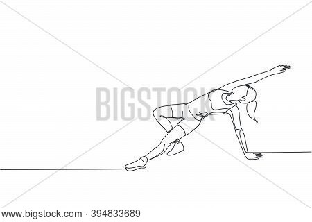 Single Continuous Line Drawing Of Young Sportive Woman Training Plank And Lunge Pose In Sport Gymnas