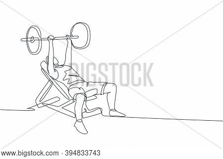 Single Continuous Line Drawing Of Young Sportive Man Training Lift Barbell On Bench Press In Sport G