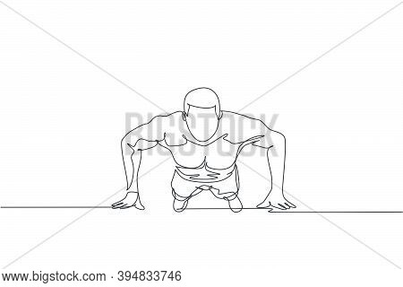 Single Continuous Line Drawing Of Young Sportive Man Training Push Up In Sport Gymnasium Club Center