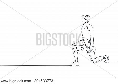 Single Continuous Line Drawing Young Sportive Woman Training With Lifting Dumbbell In Sport Gymnasiu