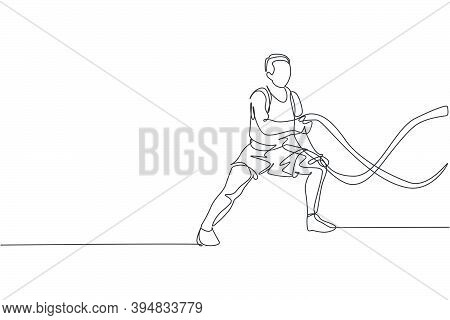One Single Line Drawing Of Young Energetic Man Exercise On Battle Rope To Train Endurance In Gym Fit