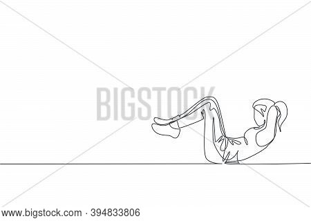 Single Continuous Line Drawing Of Young Sportive Woman Training Lying And Sit Up In Sport Gymnasium