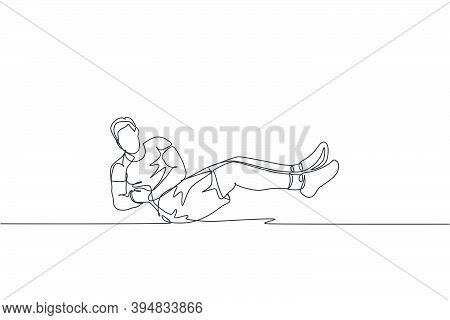 Single Continuous Line Drawing Of Young Happy Man Exercising. Russian Twist Movement In Sport Center