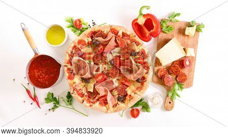 pizza with ingredient on white background