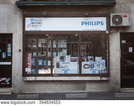 Belgrade, Serbia - August 10, 2019: Philips Logo In Front Of Their Local Retailer For Belgrade. Phil