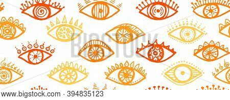 Different Human Eyes Abstract Repeatable Ornament. Sketch Drawing Style Illustration. Makeup Wrappin