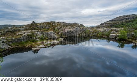 Beautiful Norway Landscape With A Lake At Preikestolen, Pulpit Rock, Norway