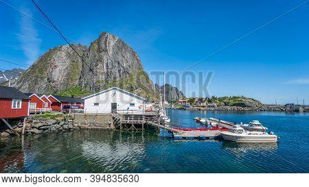 Reine, Norway - June 2016: The Fishing Village Of Reine In The Lofoten Islands Of Norway, Scandinavi