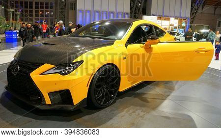 Philadelphia, Pennsylvania, U.s.a - February 10, 2019 - A Yellow And Black Color Of 2019 Lexus Rc F