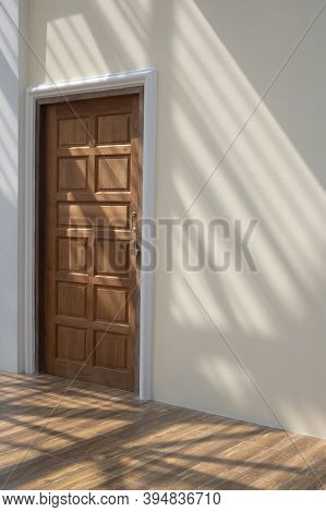 Side View Of Wooden Door In Mastic Color Cement Wall With Sunlight And Shadow Of Roof Structure On W