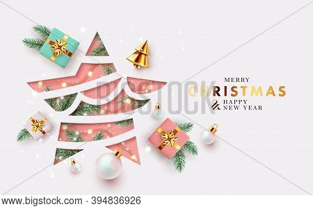 Xmas Modern Design With Paper Cut Christmas Star, 3d Realistic Golden Blue, White And Pink Gifts, Pi