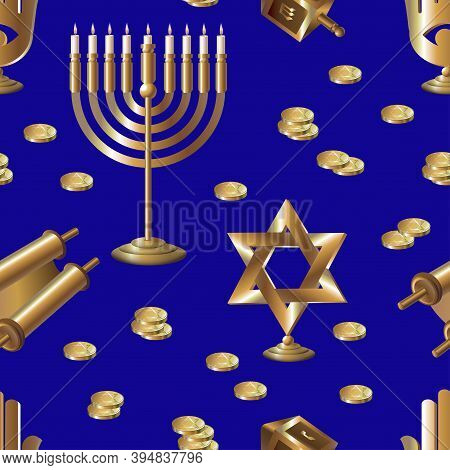 Pattern Gold Hanukkah. Vector Seamless Pattern. Gold Attributes On A Blue Background.