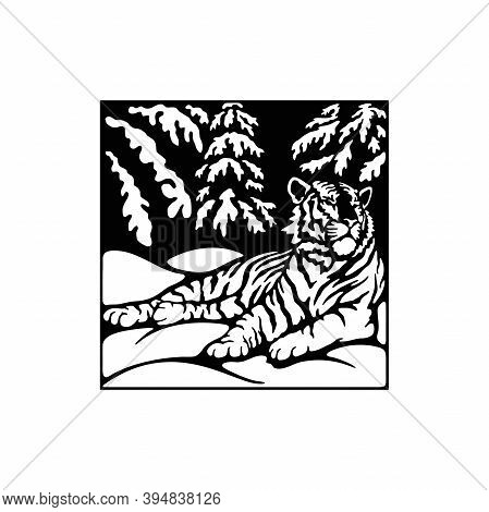 Tiger - Forest Landscape, Wildlife Stencils - Forest Silhouettes For Cricut, Wildlife Clipart, Png C