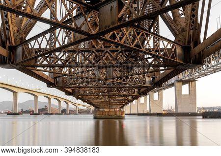 Under The Alhambra Railroad Trestle Connecting Martinez And Benicia In The Bay Area, California