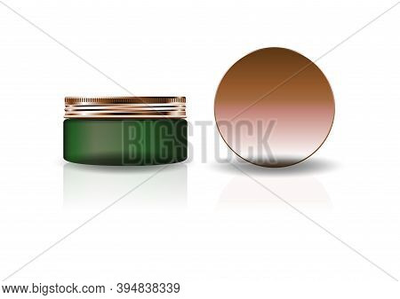 Blank Blue Clear Cosmetic Round Bottle With Grooved Lid For Beauty Product Packaging. Isolated On Wh