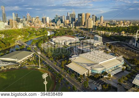 Melbourne, Australia - Nov 15, 2020: Aerial Video Of Melbourne Park. It Is The Home Of The Australia