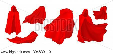 Red Cloak. Realistic Waving Silk Mantle. Scarlet Satin Fabric, Flowing Textile. Superhero Or Fairy T