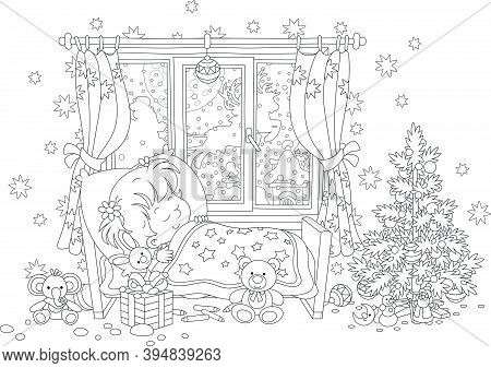Cute Little Girl Sleeping In Her Small Bed On The Night Before Christmas, In A Window Of A Nursery R