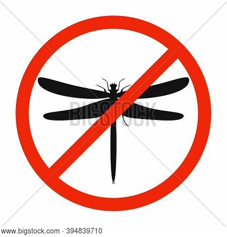 Dragonfly Icon. Stop Dragonfly Sign Isolated. Icon Of Ban Of Dragonfly. Vector Illustration.