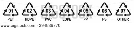 Marking Codes Of Plastic Packaging Materials. Plastic Recycling Symbols Different Types. Vector Illu