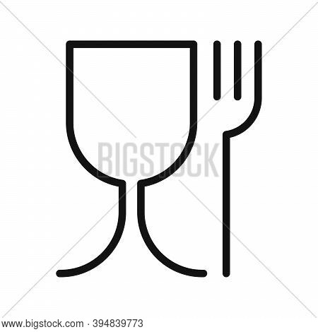 Food Grade Plastic. Vector Sign Isolated. Food Safe Material. Wine Glass And Fork Symbol