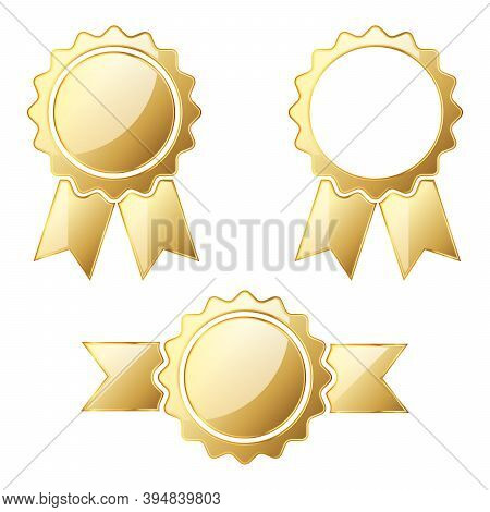 Set Of Gold Medals. Vector Illustration. Award Gold Medal. Award Icon Isolated. Winner Icon.