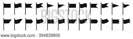 Flag Icon. Set Of Black Flag Icons. Vector Illustration. Flag Icon Collection In Flat Design.