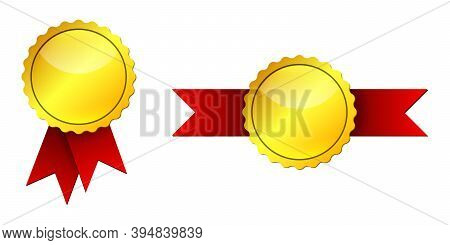 Gold Medal With Red Ribbons. Vector Illustration. Set Of Golden Medals Isolated On White Background