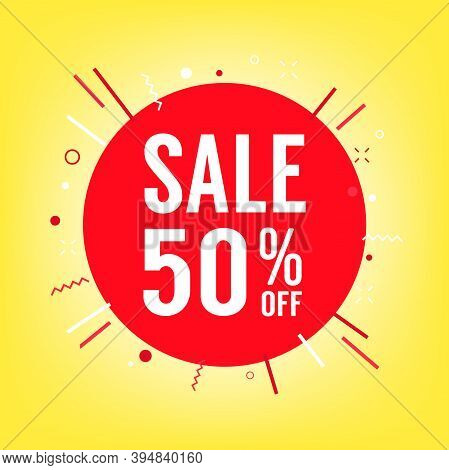 50% Off Sale Tag. Sale Of Special Offers. Discount With The Price Is 50%.