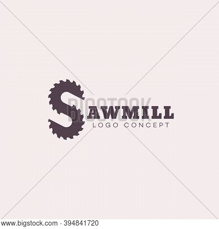 Logo Design Template With Stylized Letter S For Sawmill, Wood Shop, Carpentry, Lumberjack Service, W