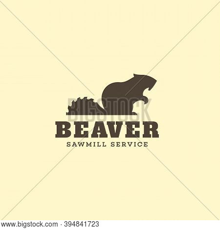 Logo Design Template With Beaver And Saw Blade For Sawmill, Lumberjack Service, Wood Shop, Carpentry