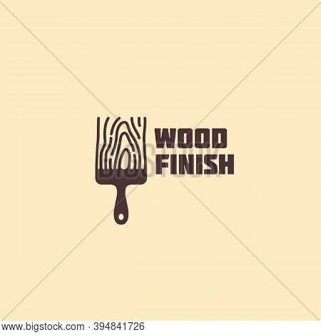 Logo Design Template With Stylized Brush For Wood Shop, Carpentry, Woodworkers, Wood Working Industr