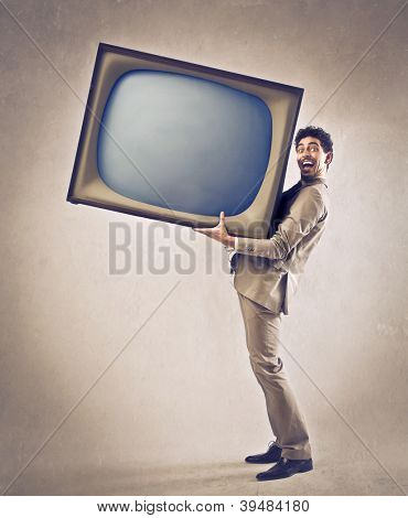 Man holding a giant CRT
