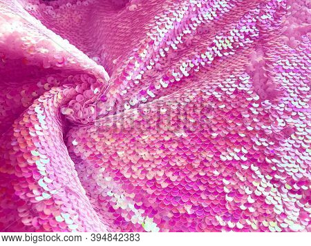 Bright Pink Sequins Background - Abstract Festive Backdrop For Holiday And Party Banner. Glamour Shi