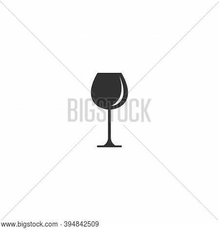 Glass For Red Wine Icon. Mulled Wine Icon Flat.