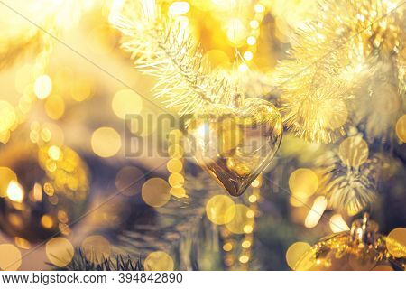 Christmas Decorations On The Branches Fir With Sparkles