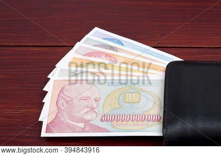 Old Yugoslavian Money - Dinar In The Black Wallet