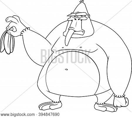 Outlined Grumpy Gorilla Cartoon Character Is Holding A Banana. Raster Illustration Isolated On White